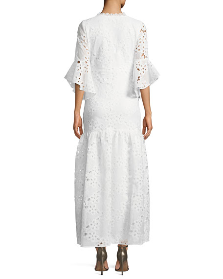 Lace-Up Flutter-Sleeve Eyelet Maxi Dress