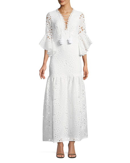 Badgley Mischka Collection Lace-Up Flutter-Sleeve Eyelet Maxi