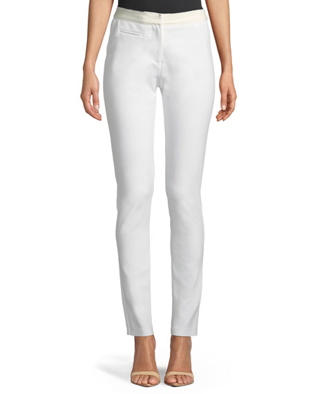 Badgley Mischka Collection Skinny Ribbon-Waist Pants