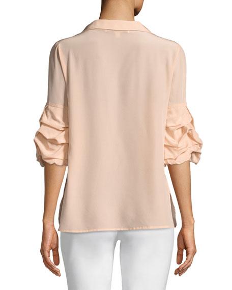 Crush-Sleeve Silk Blouse