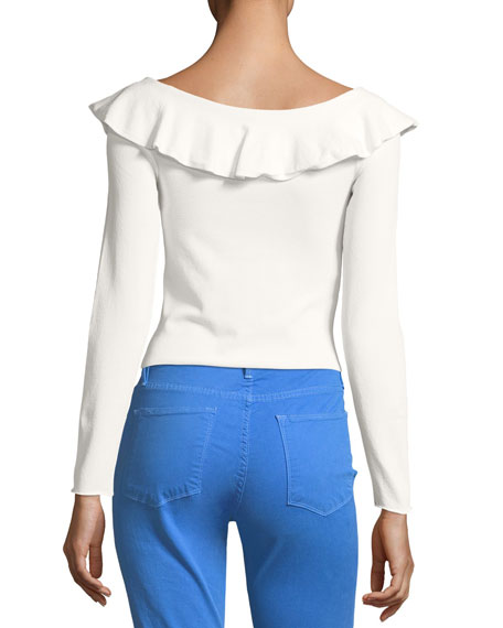 Ruffled Boat-Neck Long-Sleeve Tee