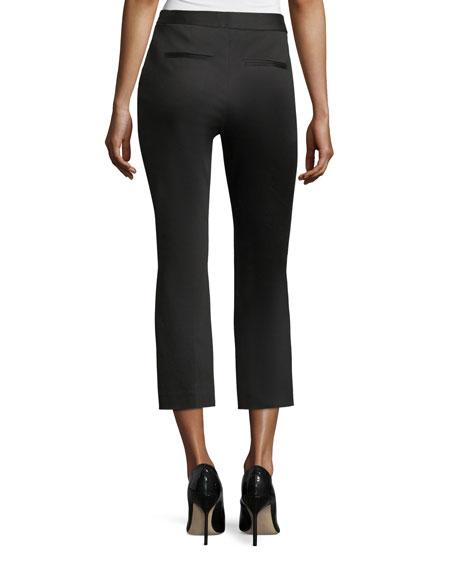 High-Waist Kick-Flare Sateen Capri Pants