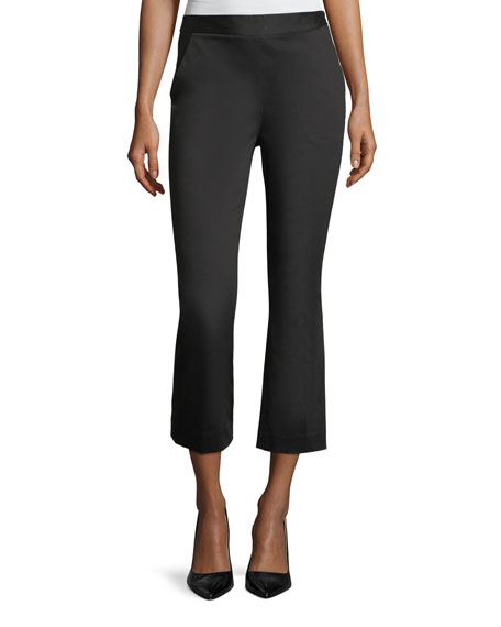 FRAME High-Waist Kick-Flare Sateen Capri Pants