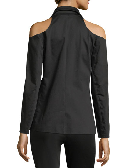 Cold-Shoulder Single-Breasted Sateen Blazer