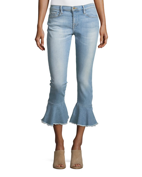 Le Skinny de Jeanne Mid-Rise Ankle Jeans with Flounce-Hem