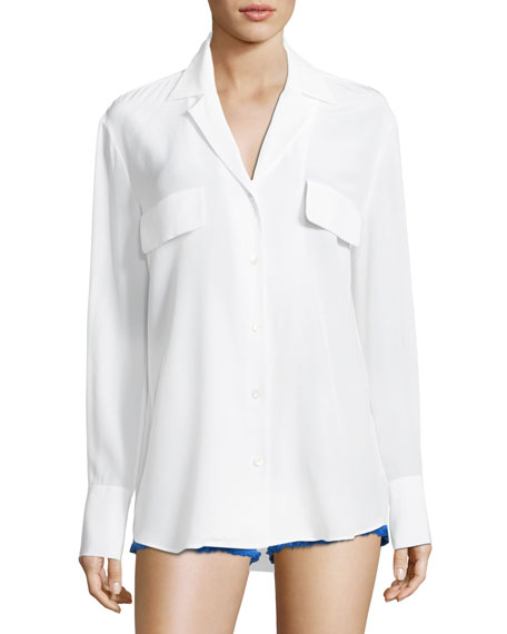 Button-Front Silk Blouse