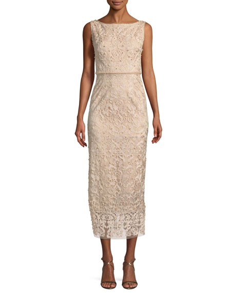 Metallic Embroidered Cocktail Dress w/ Pearly Beads