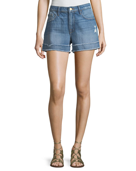 FRAME Le Grand Garcon Frayed Cuff Denim Shorts