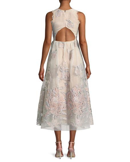 Cutout Sleeveless Midi Cocktail Dress