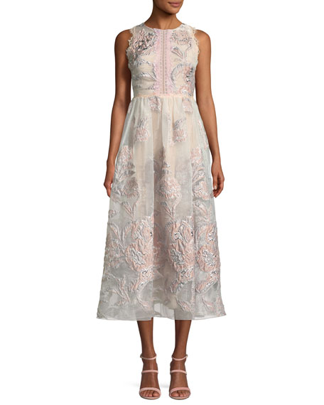 Marchesa Notte Cutout Sleeveless Midi Cocktail Dress