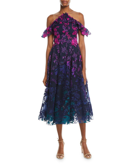 Marchesa Notte Ombré Floral Cold-Shoulder Embroidered Cocktail