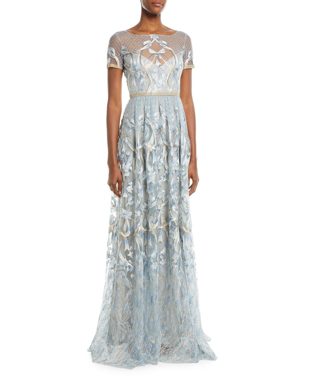 Marchesa Wedding Gown: Marchesa Notte Embroidered Gown W/ Metallic Lace Trim