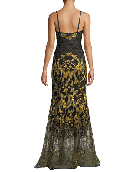 Embroidered Corset Gown w/ Adjustable Straps