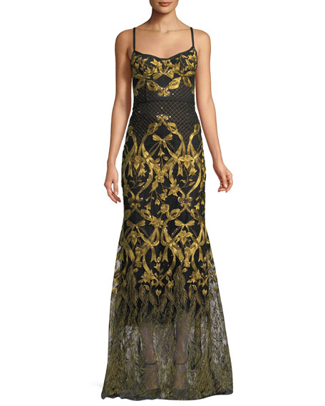 Marchesa Notte Embroidered Corset Gown w/ Adjustable Straps
