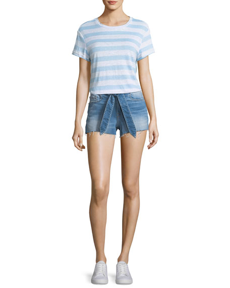 Le Cutoff Released Tie-Waist Denim Shorts