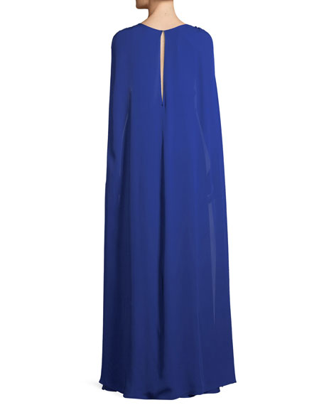 Silk Georgette V-Neck Cape Gown
