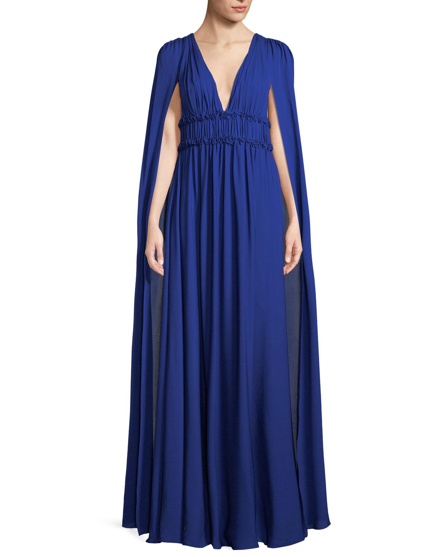 Marchesa Notte Silk Georgette V-Neck Cape Gown | Neiman Marcus