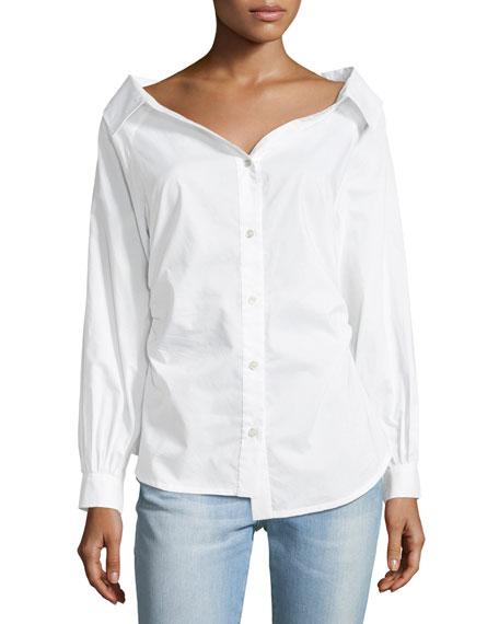 Bateau-Neck Button-Front Cinched Poplin Oxford Shirt