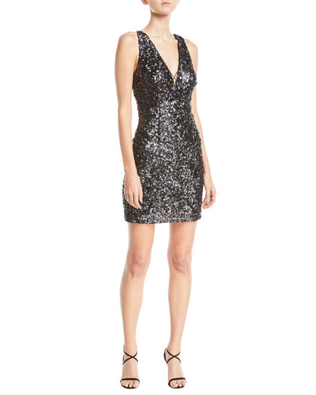Textured Sequin V-Neck Mini Cocktail Dress