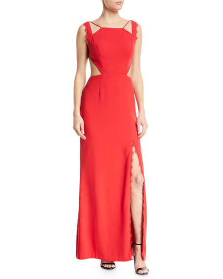 Crepe Open-Back Lace Trim Gown