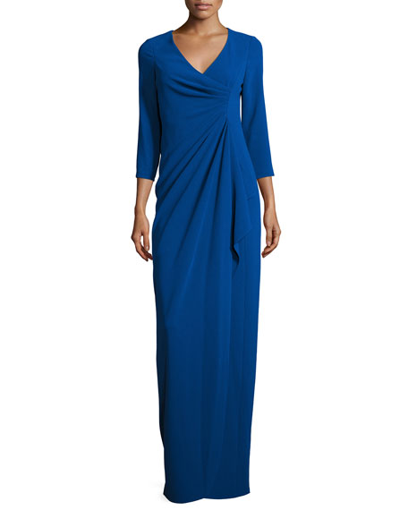 3/4-Sleeve Ruched Column Gown, Royal