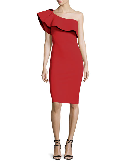 Custom Collection: Elisse One-Shoulder Ruffle Sheath Cocktail Dress