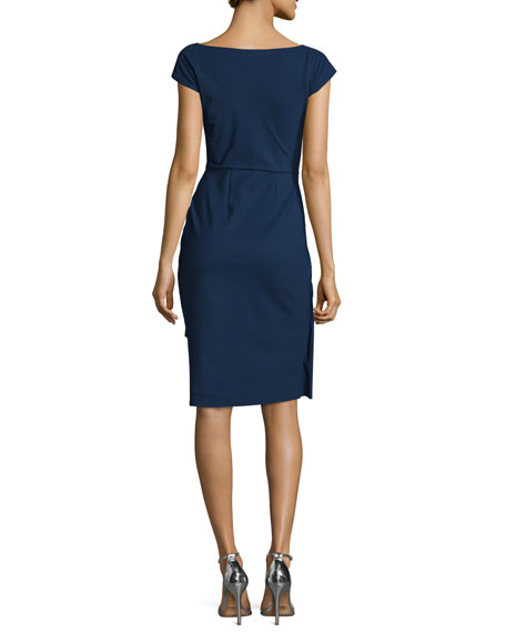 Charis Side-Ruffle Cocktail Dress, Blue Notte