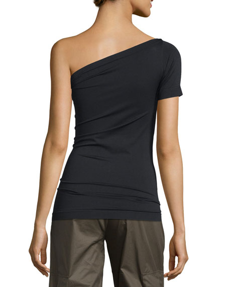 One-Shoulder Stretch-Knit Tee