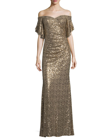 Badgley Mischka Sequin Off-the-Shoulder Evening Gown