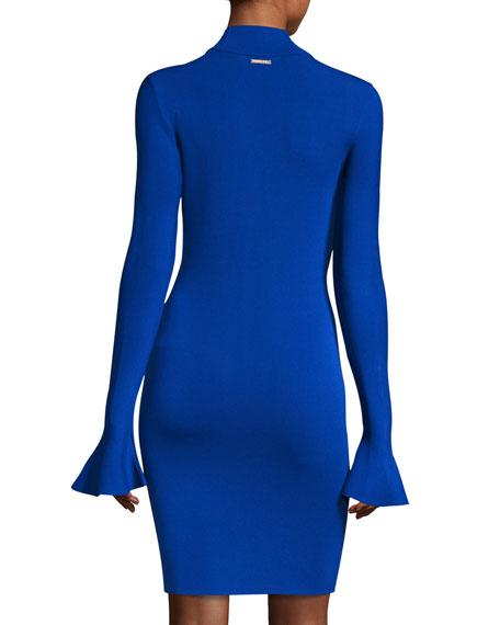 Long Bell-Sleeve Sheath Dress