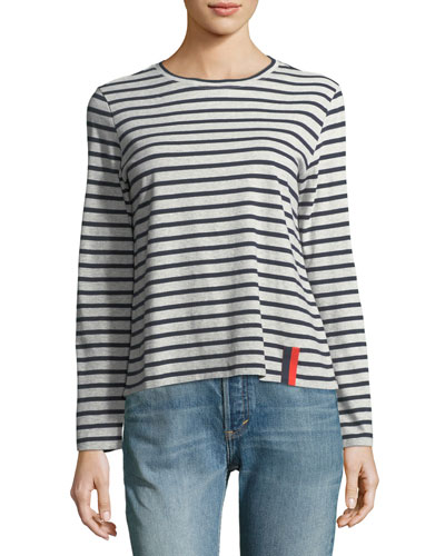 Crewneck Long-Sleeve Striped Cotton Top