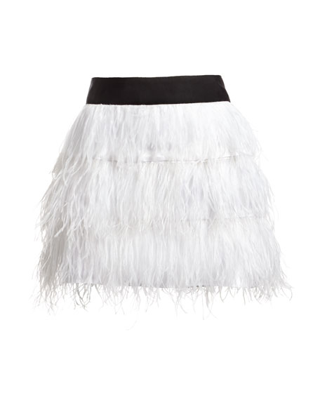 Ostrich Feather Miniskirt