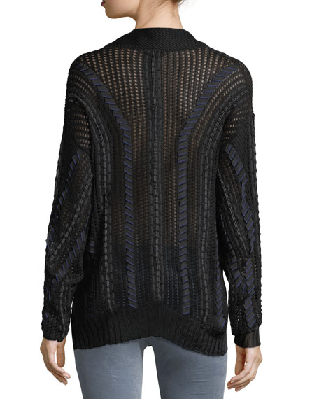 Lucie V-Neck Pointelle Lacing Sweater
