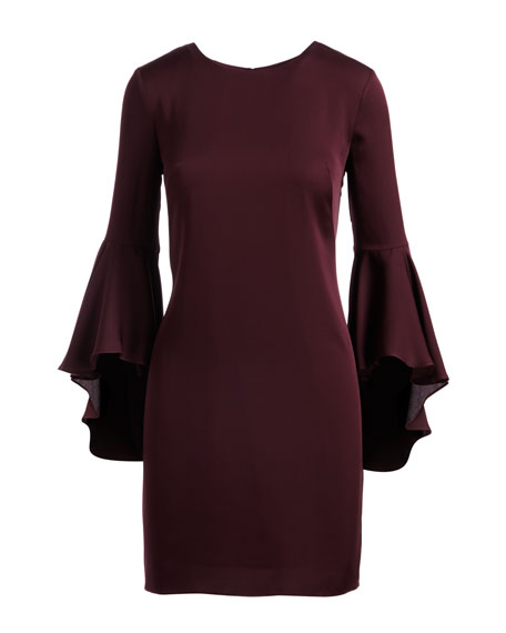 3/4 Bell-Sleeve Stretch-Silk Dress