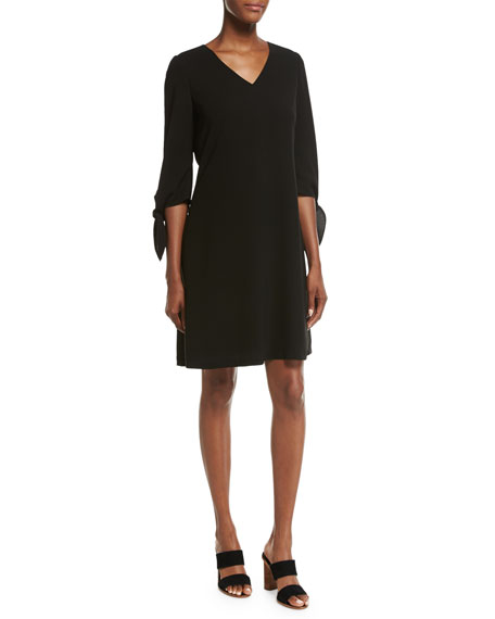Kenna Split-Sleeve Finesse Crepe Dress