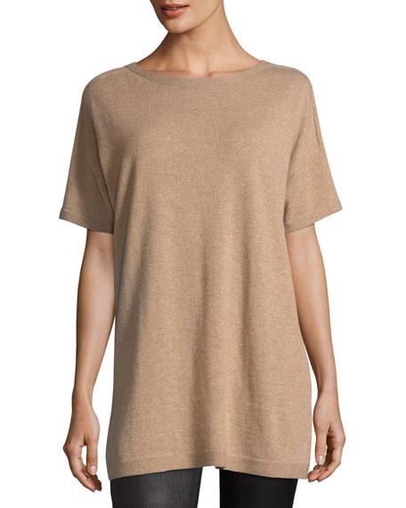 Short Sleeve Seamless Italian Cashmere Tunic, Petite