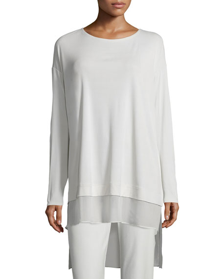 Long-Sleeve Layered Silk Tunic, Petite