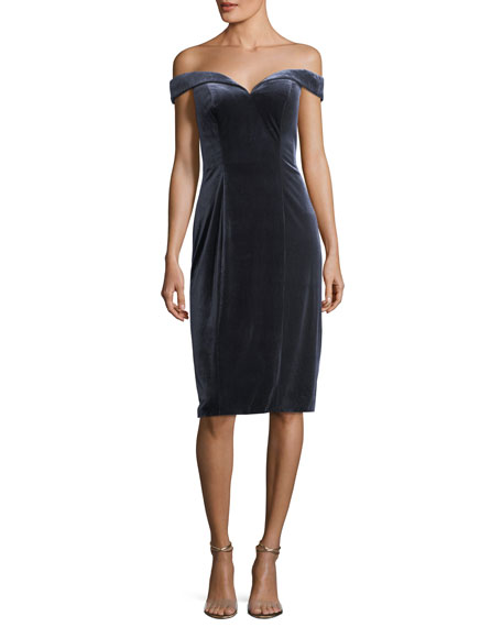 Jovani Off-the-Shoulder Velvet Sheath Cocktail Dress