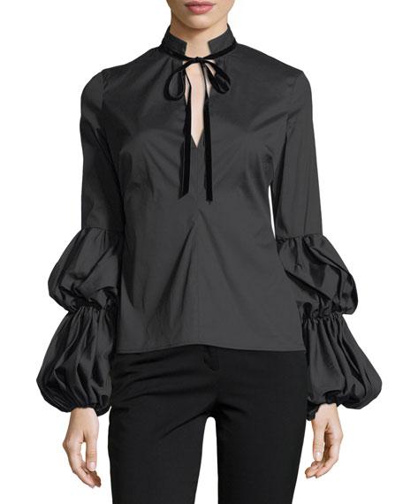 Caroline Constas Yasmin Tiered-Sleeves Tie-Neck Poplin Blouse