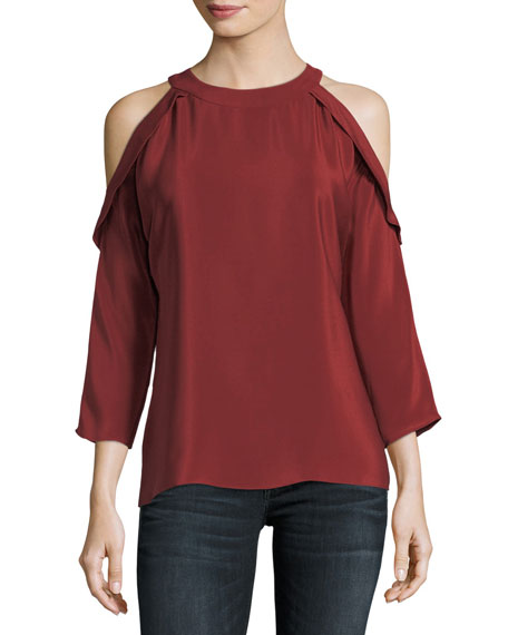 Vivica Silk Crepe Cold Shoulder Top by Neiman Marcus