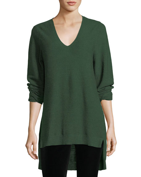 Eileen Fisher Long-Sleeve V-Neck High-Low Wool Top, Plus