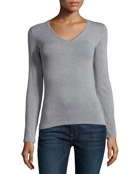 Soft Touch Long-Sleeve V-Neck Tee