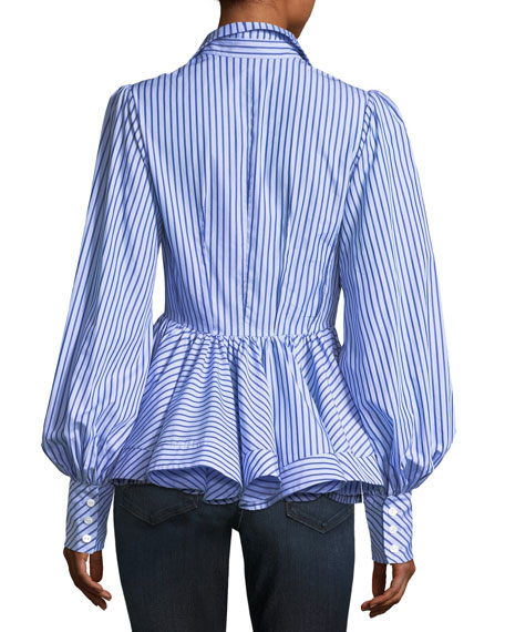 Waverly Striped Button-Front Blouson-Sleeve Cotton Shirt