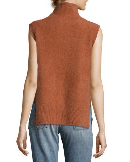 Side-Slit Sleeveless Cashmere Turtleneck Sweater