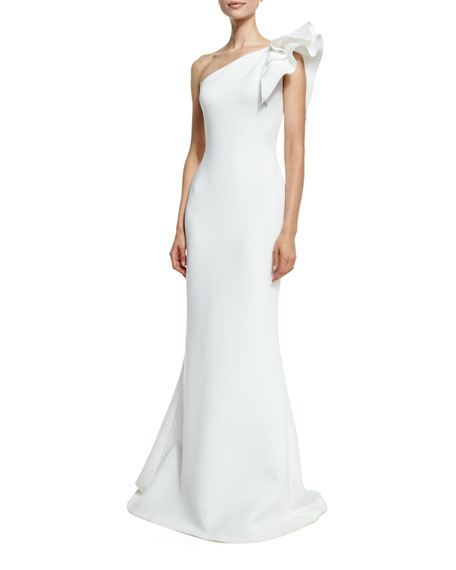 Pleated One-Shoulder Column Gown