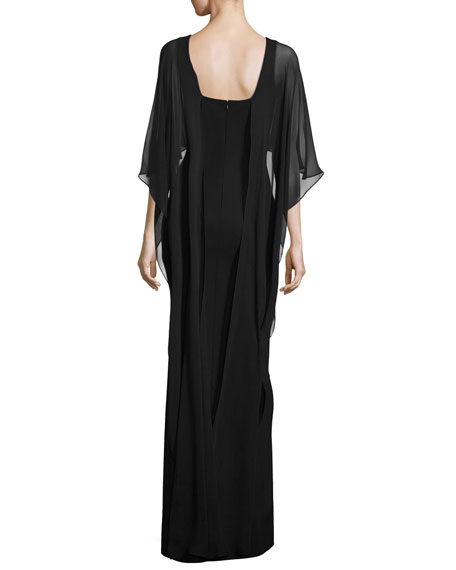 Chiffon Cape Column Gown