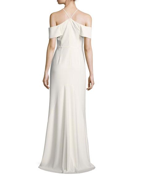 Cold-Shoulder V-Neck Evening Gown