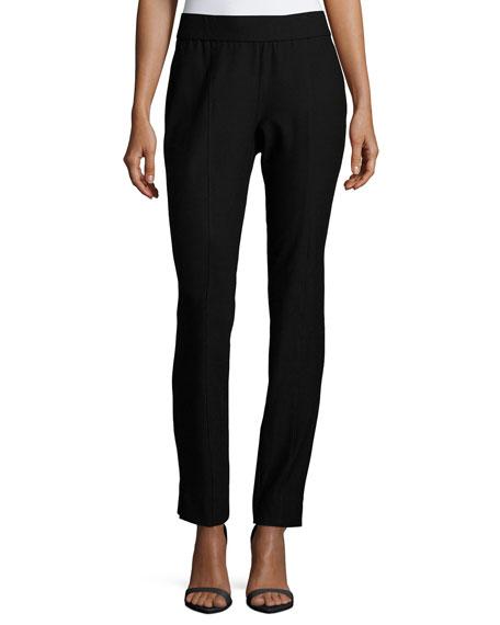 Washable Crepe Slim-Leg Pants, Petite