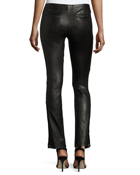 Riding Fitted Straight-Leg Lamb Leather Pants
