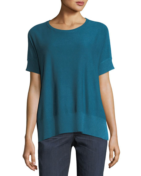 Sleek Short-Sleeve Stretch-Knit Top